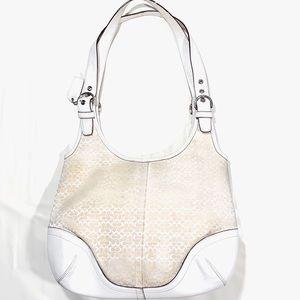 COACH white leather & canvas shoulder purse